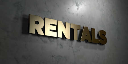 rentals: Rentals - Gold sign mounted on glossy marble wall  - 3D rendered royalty free stock illustration. This image can be used for an online website banner ad or a print postcard. Stock Photo