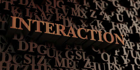 Interaction - Wooden 3D rendered lettersmessage.  Can be used for an online banner ad or a print postcard.
