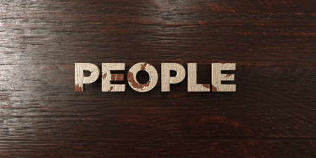 People - grungy wooden headline on Maple  - 3D rendered royalty free stock image. This image can be used for an online website banner ad or a print postcard.