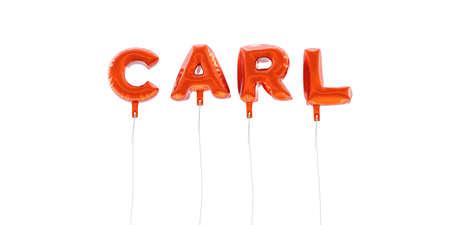 カール - 赤箔バルーン - 3 D レンダリングから作られた言葉。 オンラインのバナー広告や印刷のはがきに使用できます。