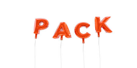 pack string: PACK - word made from red foil balloons - 3D rendered.  Can be used for an online banner ad or a print postcard.