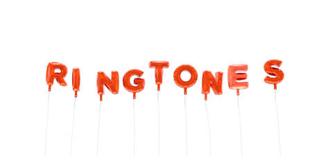 RINGTONES - word made from red foil balloons - 3D rendered.  Can be used for an online banner ad or a print postcard.