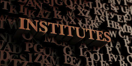 Institutes - Wooden 3D rendered lettersmessage.  Can be used for an online banner ad or a print postcard. Banco de Imagens