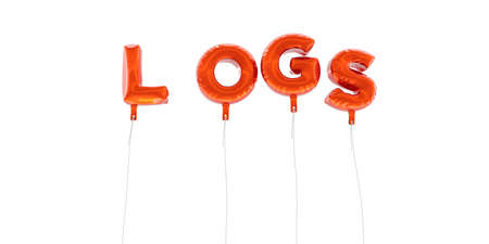 LOGS - word made from red foil balloons - 3D rendered.  Can be used for an online banner ad or a print postcard.