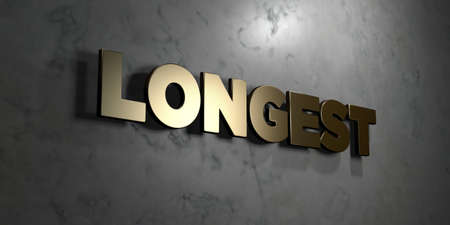 longest: Longest - Gold sign mounted on glossy marble wall  - 3D rendered royalty free stock illustration. This image can be used for an online website banner ad or a print postcard.