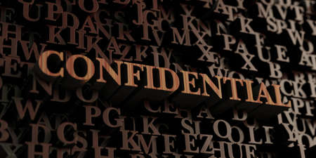 Confidential - Wooden 3D rendered lettersmessage.  Can be used for an online banner ad or a print postcard. Stock Photo