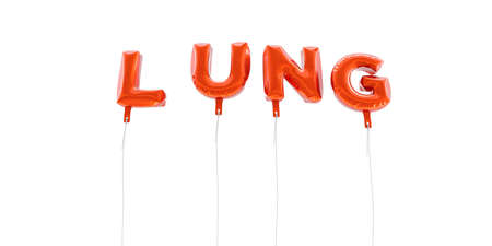 LUNG - word made from red foil balloons - 3D rendered.  Can be used for an online banner ad or a print postcard.