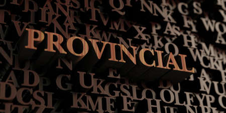 provincial: Provincial - Wooden 3D rendered lettersmessage.  Can be used for an online banner ad or a print postcard. Stock Photo