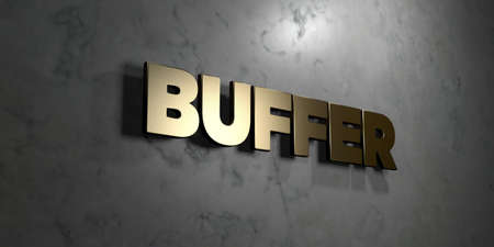 buffer: Buffer - Gold sign mounted on glossy marble wall  - 3D rendered royalty free stock illustration. This image can be used for an online website banner ad or a print postcard.