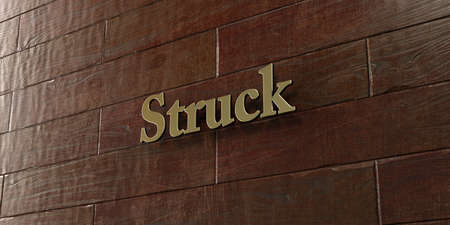 struck: Struck - Bronze plaque mounted on maple wood wall  - 3D rendered royalty free stock picture. This image can be used for an online website banner ad or a print postcard. Stock Photo