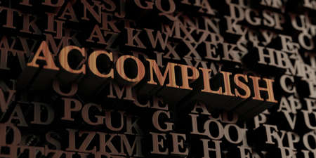 Accomplish - Wooden 3D rendered lettersmessage.  Can be used for an online banner ad or a print postcard.