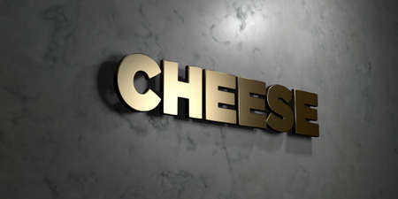 Cheese - Gold sign mounted on glossy marble wall  - 3D rendered royalty free stock illustration. This image can be used for an online website banner ad or a print postcard.