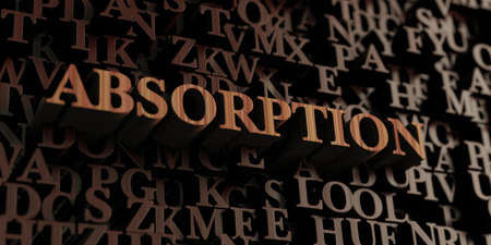 absorption: Absorption - Wooden 3D rendered lettersmessage.  Can be used for an online banner ad or a print postcard. Stock Photo