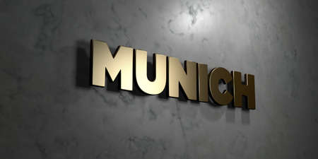 Munich - Gold sign mounted on glossy marble wall  - 3D rendered royalty free stock illustration. This image can be used for an online website banner ad or a print postcard.