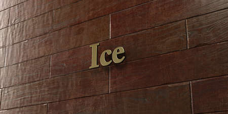 Ice - Bronze plaque mounted on maple wood wall  - 3D rendered royalty free stock picture. This image can be used for an online website banner ad or a print postcard. Stock Photo