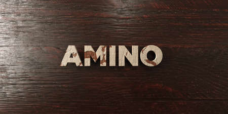 Amino - grungy wooden headline on Maple  - 3D rendered royalty free stock image. This image can be used for an online website banner ad or a print postcard.