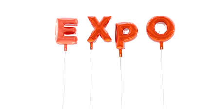 EXPO - word made from red foil balloons - 3D rendered.  Can be used for an online banner ad or a print postcard.