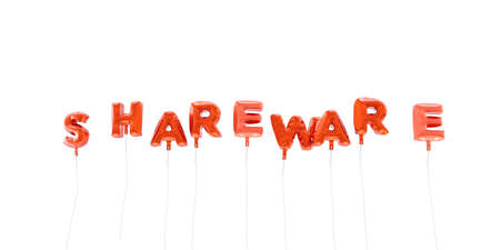 shareware: SHAREWARE - word made from red foil balloons - 3D rendered.  Can be used for an online banner ad or a print postcard.