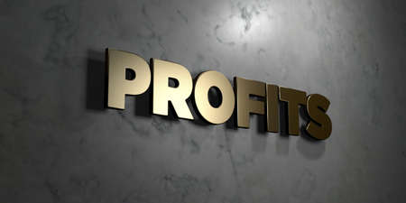 Profits - Gold sign mounted on glossy marble wall  - 3D rendered royalty free stock illustration. This image can be used for an online website banner ad or a print postcard. Stock Photo
