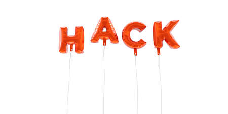 HACK - word made from red foil balloons - 3D rendered.  Can be used for an online banner ad or a print postcard. Stock Photo
