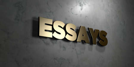 essays: Essays - Gold sign mounted on glossy marble wall  - 3D rendered royalty free stock illustration. This image can be used for an online website banner ad or a print postcard.