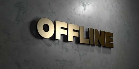 offline: Offline - Gold sign mounted on glossy marble wall  - 3D rendered royalty free stock illustration. This image can be used for an online website banner ad or a print postcard.