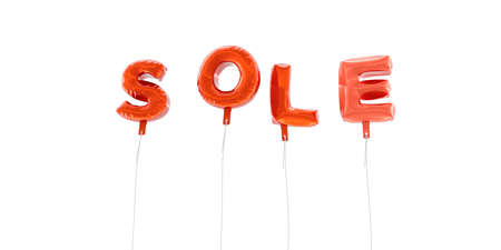 SOLE - word made from red foil balloons - 3D rendered.  Can be used for an online banner ad or a print postcard. Stock Photo