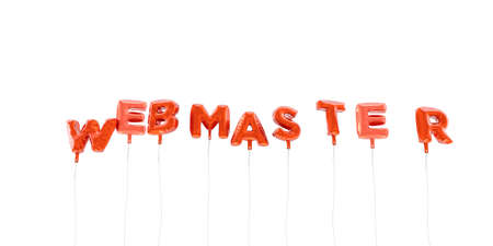 WEBMASTER - word made from red foil balloons - 3D rendered.  Can be used for an online banner ad or a print postcard. Stock Photo