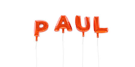paul: PAUL - word made from red foil balloons - 3D rendered.  Can be used for an online banner ad or a print postcard. Stock Photo