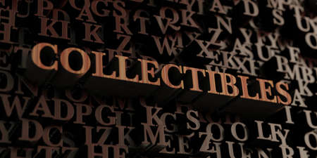 collectibles: Collectibles - Wooden 3D rendered lettersmessage.  Can be used for an online banner ad or a print postcard.