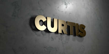 curtis: Curtis - Gold sign mounted on glossy marble wall  - 3D rendered royalty free stock illustration. This image can be used for an online website banner ad or a print postcard.