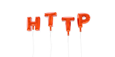 HTTP - word made from red foil balloons - 3D rendered.  Can be used for an online banner ad or a print postcard.