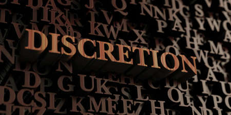 Discretion - Wooden 3D rendered lettersmessage.  Can be used for an online banner ad or a print postcard.