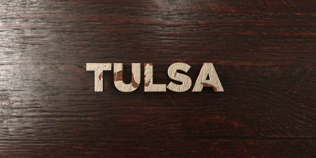Tulsa - grungy wooden headline on Maple  - 3D rendered royalty free stock image. This image can be used for an online website banner ad or a print postcard.