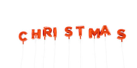 CHRISTMAS - word made from red foil balloons - 3D rendered.  Can be used for an online banner ad or a print postcard.