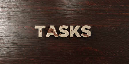 Tasks - grungy wooden headline on Maple  - 3D rendered royalty free stock image. This image can be used for an online website banner ad or a print postcard.