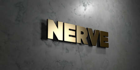nerve message: Nerve - Gold sign mounted on glossy marble wall  - 3D rendered royalty free stock illustration. This image can be used for an online website banner ad or a print postcard.