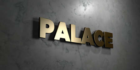 Palace - Gold sign mounted on glossy marble wall  - 3D rendered royalty free stock illustration. This image can be used for an online website banner ad or a print postcard.