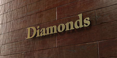 diamond letters: Diamonds - Bronze plaque mounted on maple wood wall  - 3D rendered royalty free stock picture. This image can be used for an online website banner ad or a print postcard. Stock Photo