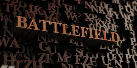 Battlefield - Wooden 3D rendered lettersmessage.  Can be used for an online banner ad or a print postcard.