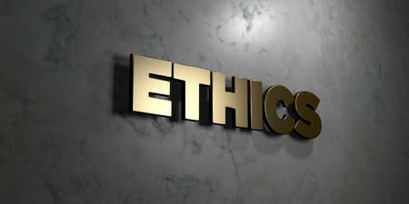 Ethics - Gold sign mounted on glossy marble wall  - 3D rendered royalty free stock illustration. This image can be used for an online website banner ad or a print postcard. Banque d'images