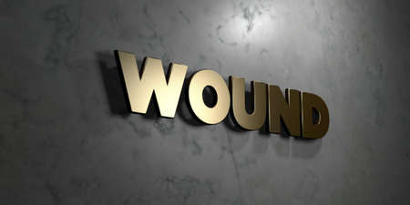 Wound - Gold sign mounted on glossy marble wall  - 3D rendered royalty free stock illustration. This image can be used for an online website banner ad or a print postcard. 版權商用圖片