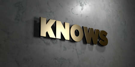 knows: Knows - Gold sign mounted on glossy marble wall  - 3D rendered royalty free stock illustration. This image can be used for an online website banner ad or a print postcard.