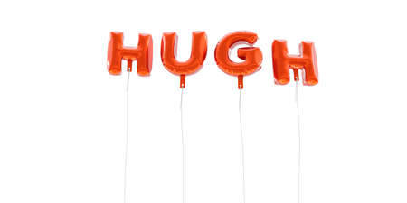 hugh: HUGH - word made from red foil balloons - 3D rendered.  Can be used for an online banner ad or a print postcard. Stock Photo