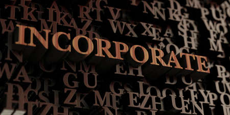 incorporate: Incorporate - Wooden 3D rendered lettersmessage.  Can be used for an online banner ad or a print postcard.