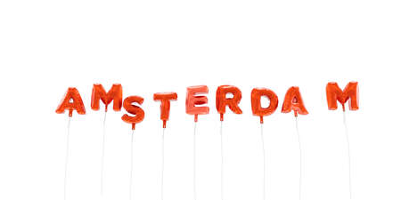 AMSTERDAM - word made from red foil balloons - 3D rendered.  Can be used for an online banner ad or a print postcard.