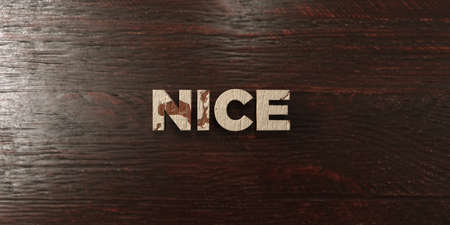 Nice - grungy wooden headline on Maple  - 3D rendered royalty free stock image. This image can be used for an online website banner ad or a print postcard.