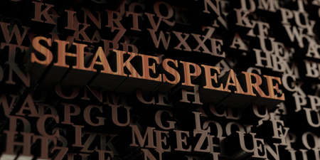 shakespeare: Shakespeare - Wooden 3D rendered lettersmessage.  Can be used for an online banner ad or a print postcard.