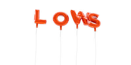 lows: LOWS - word made from red foil balloons - 3D rendered.  Can be used for an online banner ad or a print postcard.