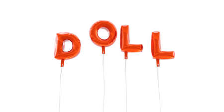DOLL - word made from red foil balloons - 3D rendered.  Can be used for an online banner ad or a print postcard.